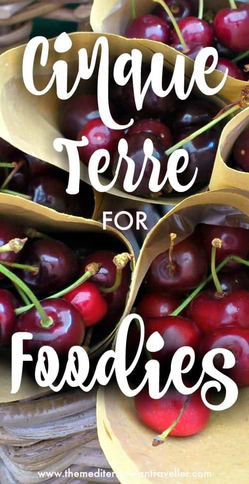 image of cherries in the Cinque Terre with text overlay