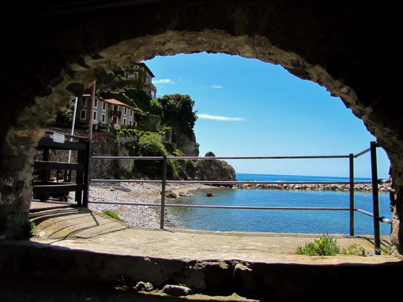 A charming archway looking out onto the beach in Levanto.