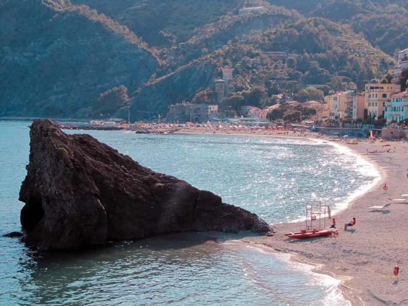 Shimmering water at Monterosso beach in the Cinque Terre