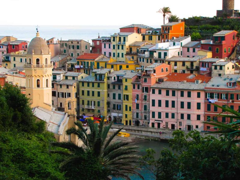 view of Vernazza architecture from the coastal trail