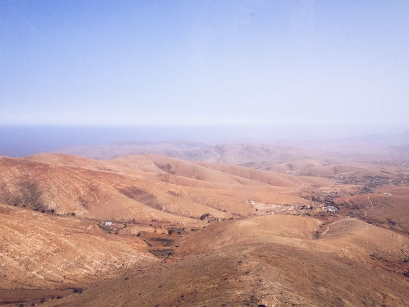 View across the barren hills of Fuerteventura.