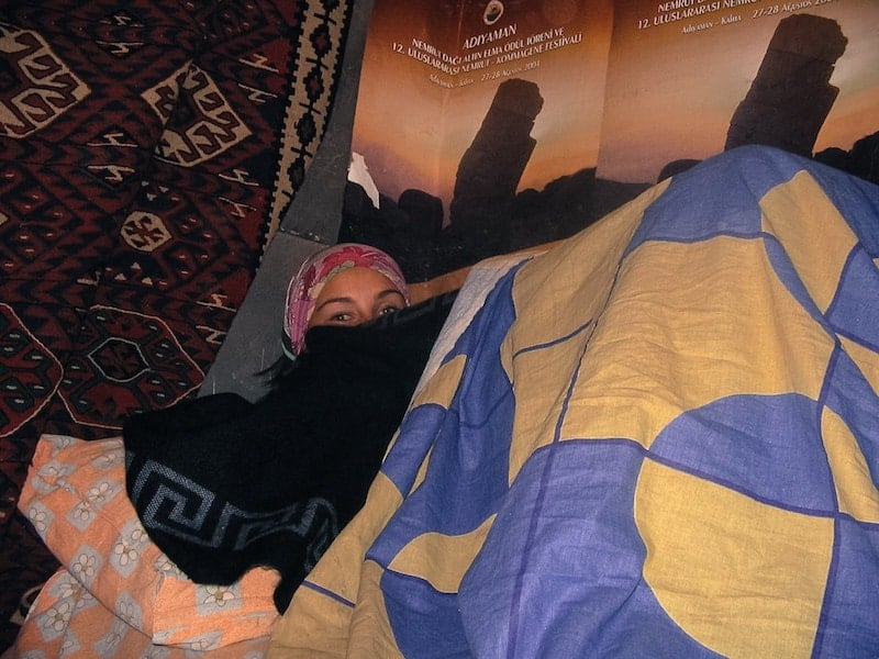 Sleeping in a refuse on Mount Nemrut