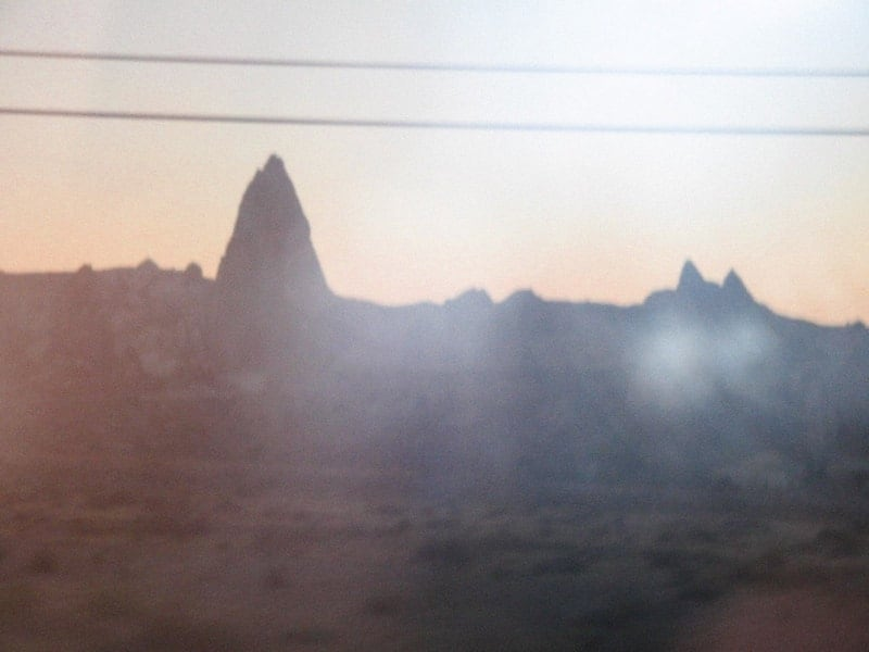 View from the bus window in Cappadocia