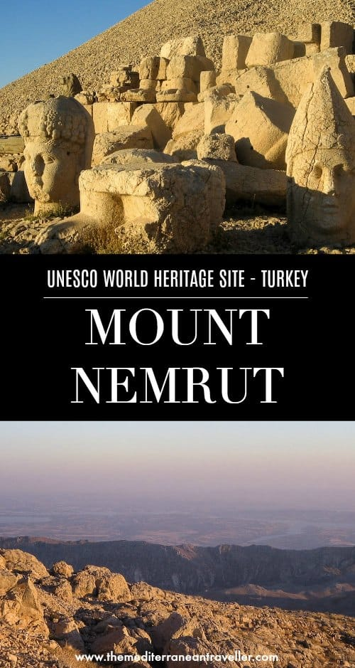 Views of Mount Nemrut with text overlay 'UNESCO World Heritage Site - Turkey | Mount Nemrut'