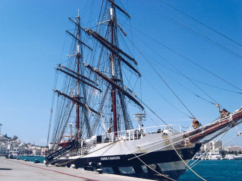 Tall ship Stavros S Niarchos docked in Menorca
