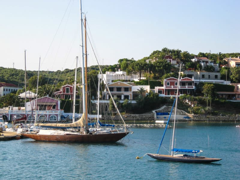 Expensive wooden yachts in Menorca
