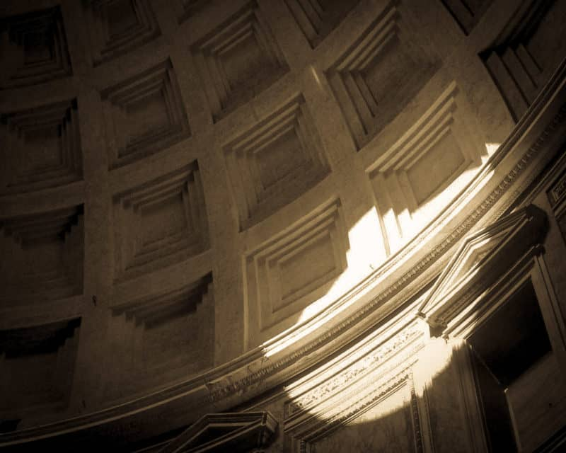 Light from the Pantheon's oculus in Rome