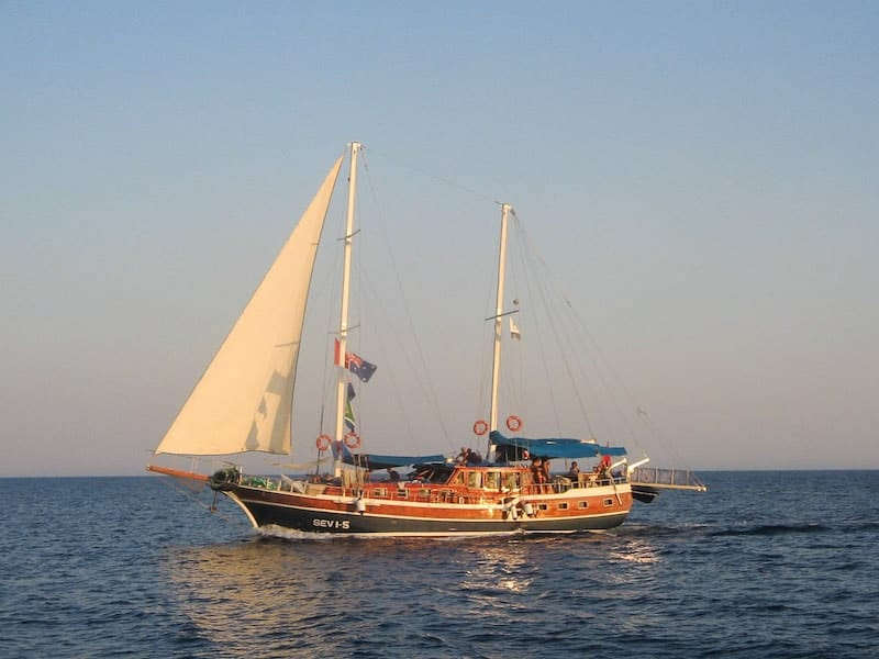 A Turkish gulet at sea in the evening sun