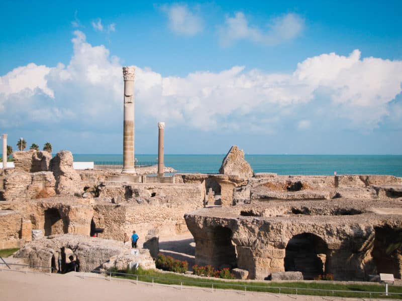 The archaeological site of Carthage in Tunisia overlooking the sea.