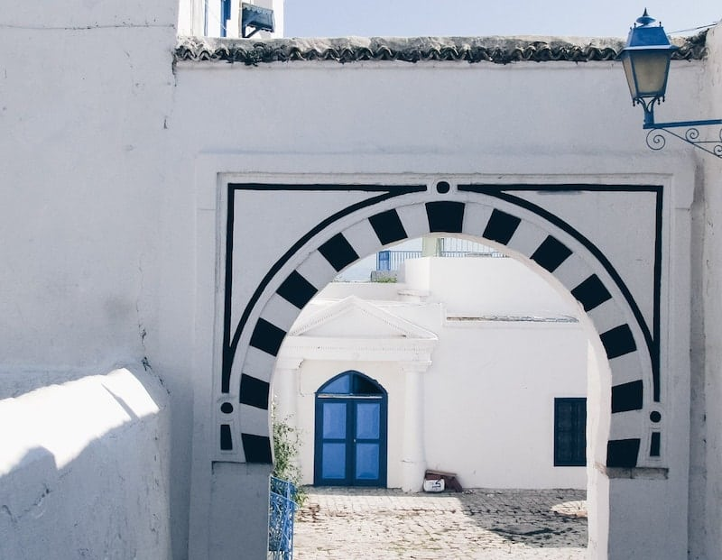 Blue and white striped archway in Sidi Bou Said