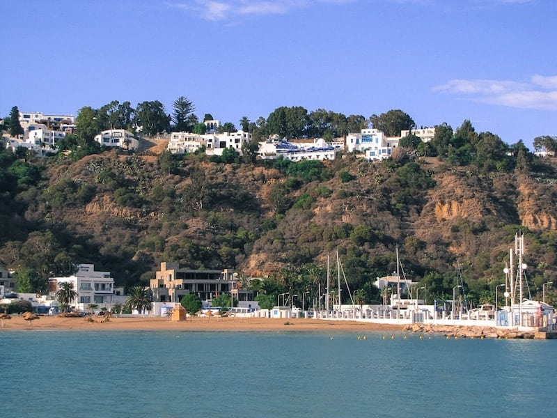 View of Sidi Bou Said and its beach from the sea