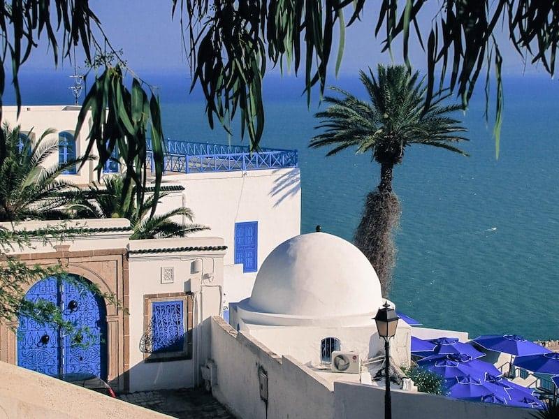 View of Sidi Bou Said out to sea