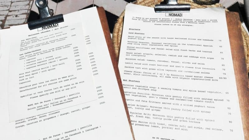 Menu from Nomad restaurant, Marrakech   Marrakech for Foodies
