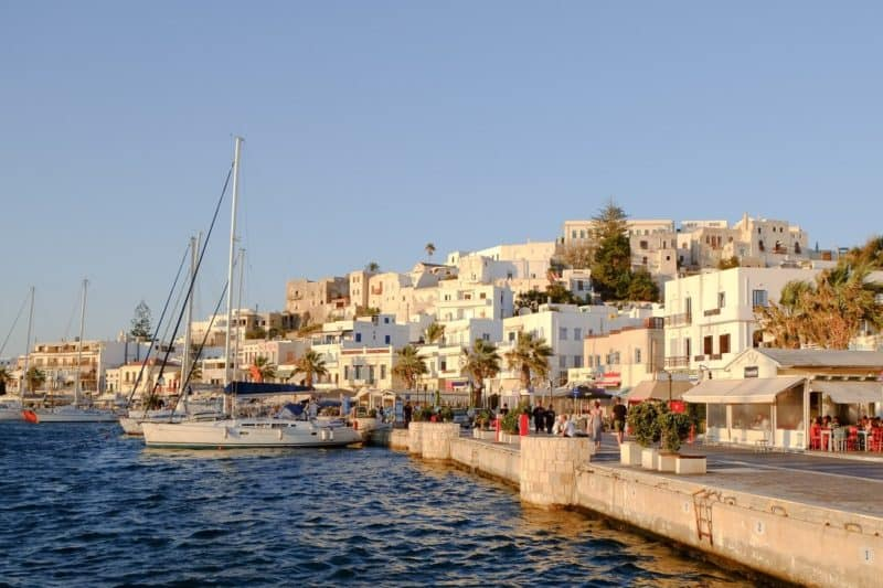 Naxos Chora harbourfront at sunset