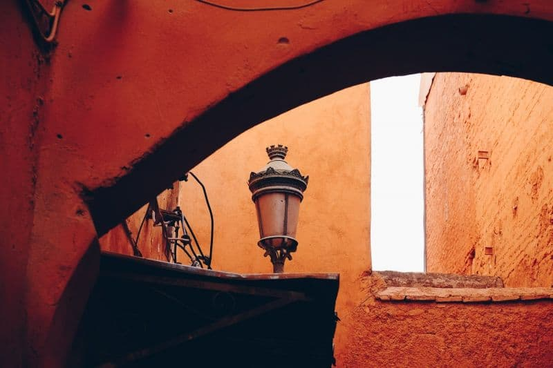 Archway of a red building in Marrakech