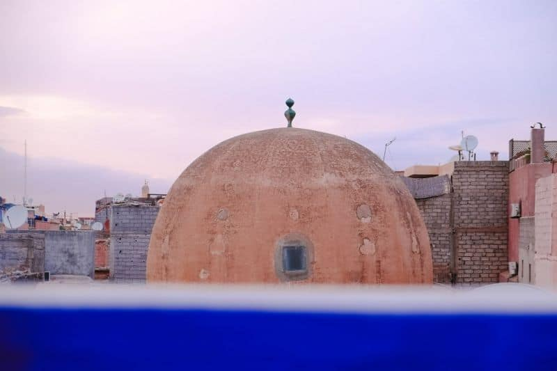 Mosque dome from rooftop of Cafe Clock, Marrakech