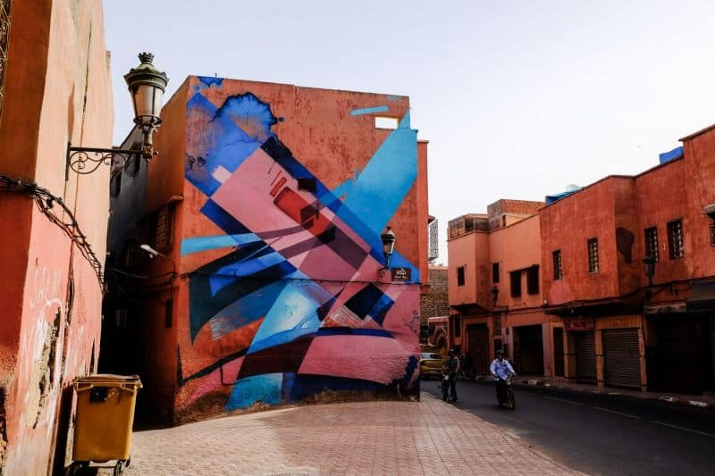 Street art on the red buildings of Marrakech