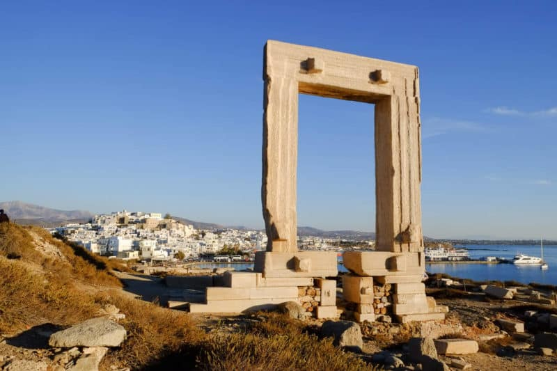 Naxos' Portara at sunset