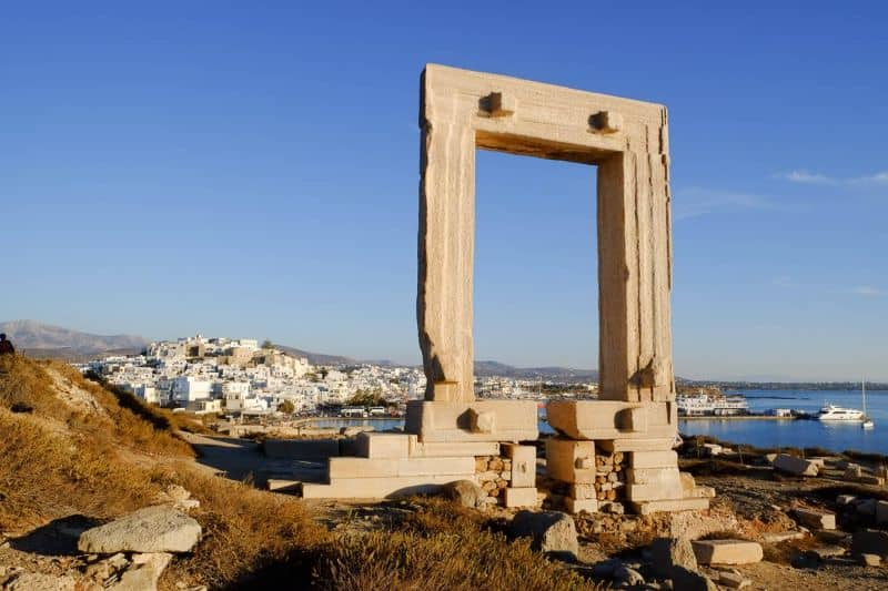 Naxos portara with Naxos Chora in the background