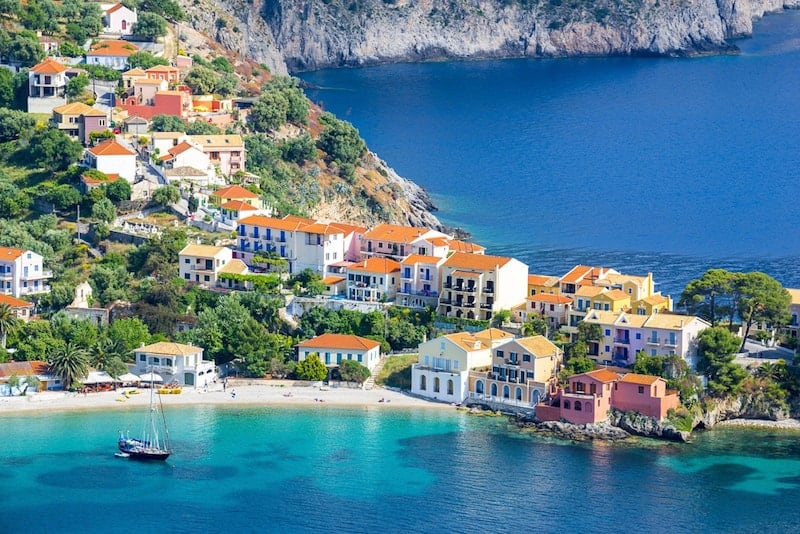 Aerial view of Assos, Kefalonia