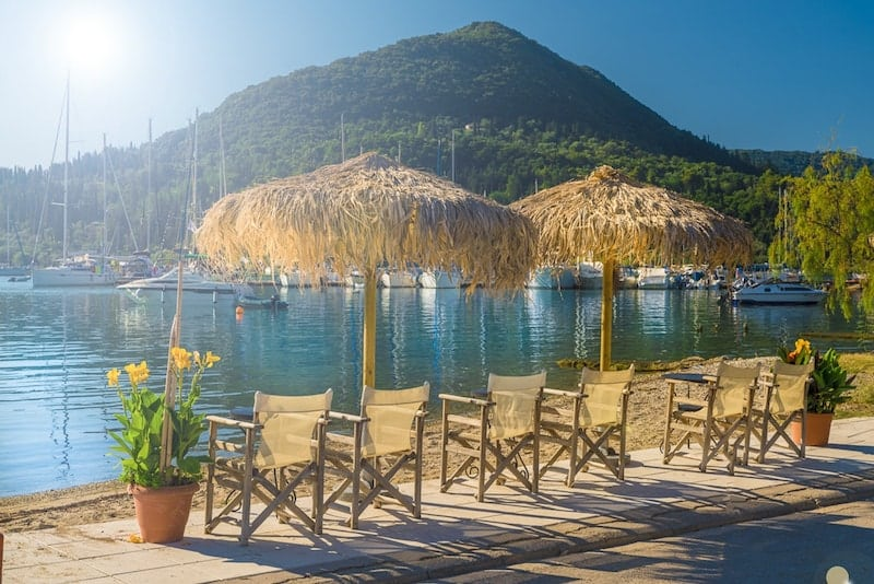 Tables and chairs on Nidri harbour, Lefkada