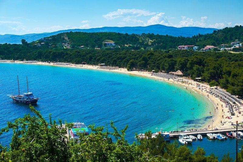 Pine-backed Koukounaries Beach on Skiathos