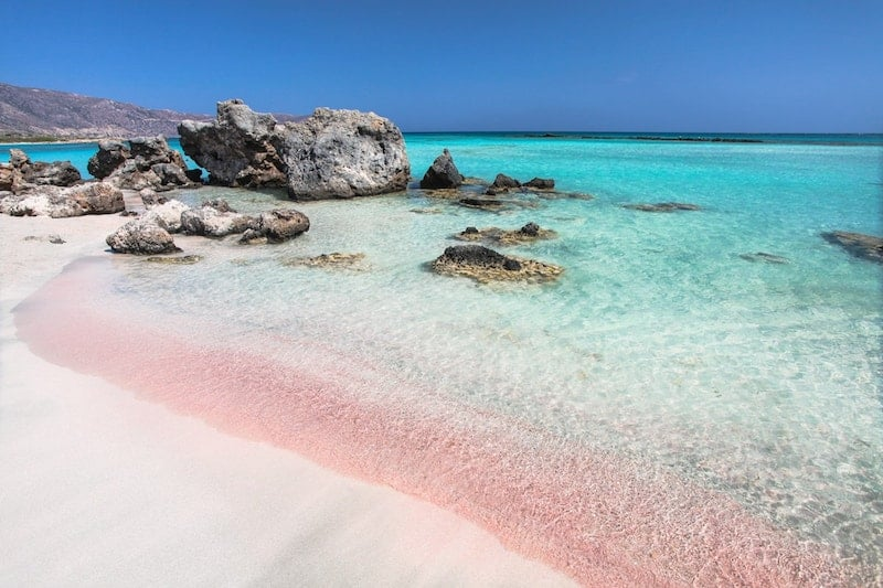 Pink sand on Elafonisi beach, Crete