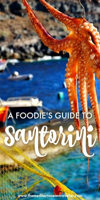 Octopus drying in the sun with text overlay 'A Foodie's Guide to Santorini'