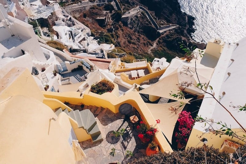 Layers of traditional architecture and terraces in Oia