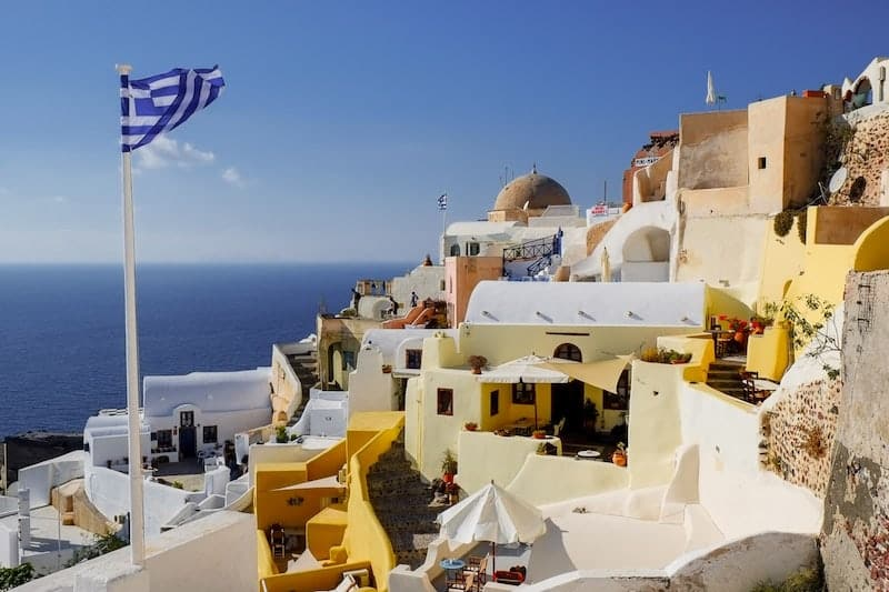 Yellow volcanic houses in Oia, Santorini