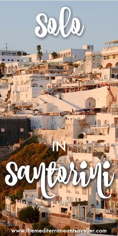 Image of Fira at sunset with text overlay 'Solo in Santorini'