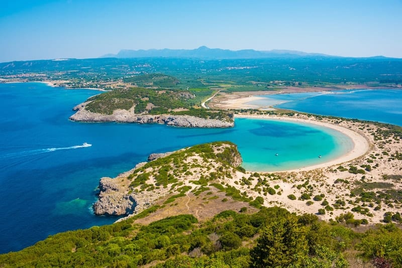 Aerial view of Voidokilia beach, Costa Navarino