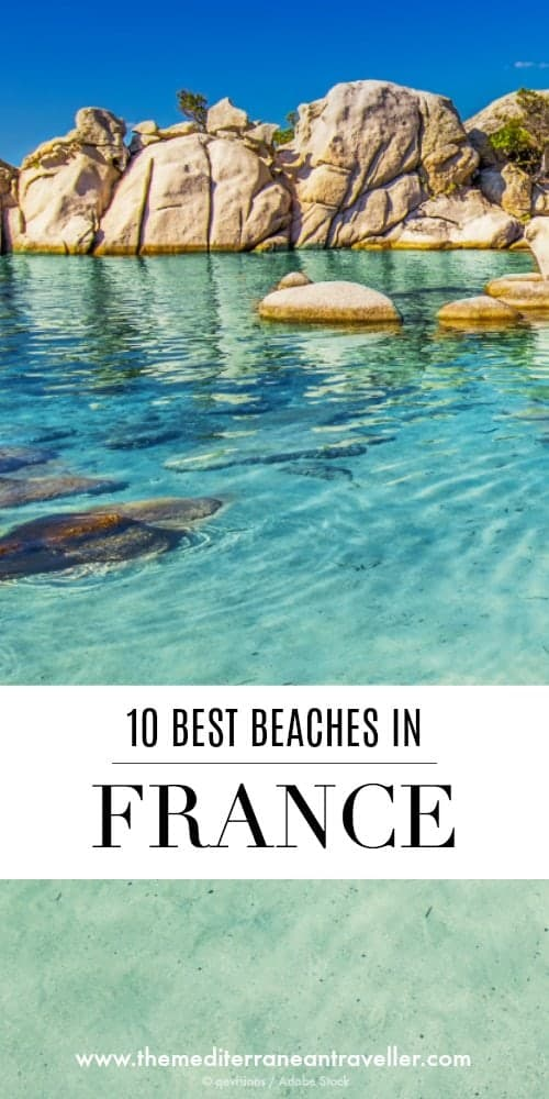 Boulders on Palombaggia beach with text overlay '10 Best Beaches in France'