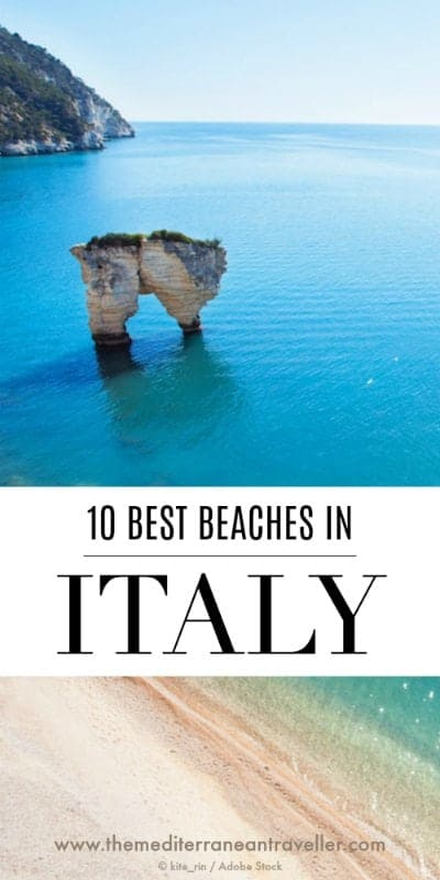 Aerial shot of Baia delle Zagare beach with text overlay '10 best beaches in Italy'