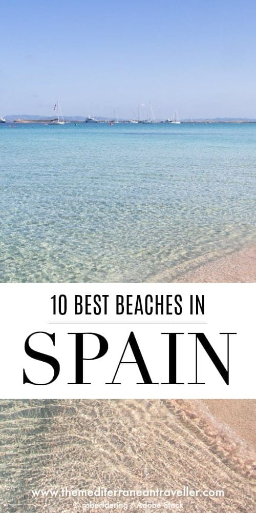 Ses Illetes beach in Formentera with text overlay '10 best beaches in Spain'