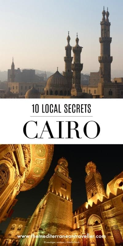 Cairo's mosques with text overlay '10 Local Secrets - Cairo'