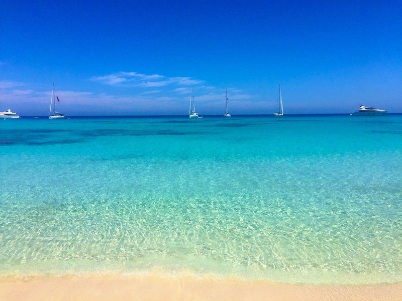 Yellow sands, blue water, blue skies in Spain's Formentera