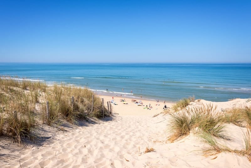 The sand dunes and beach of Lacanau, France