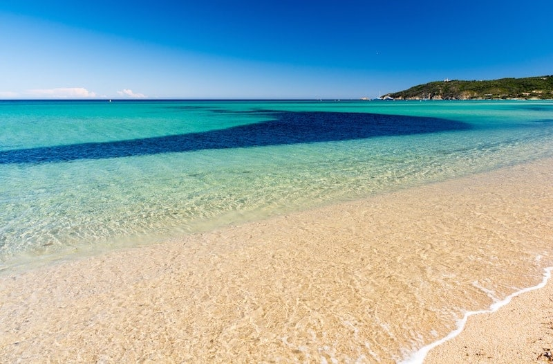 Blue waters of Pampelonne Beach in St Tropez, French Riviera