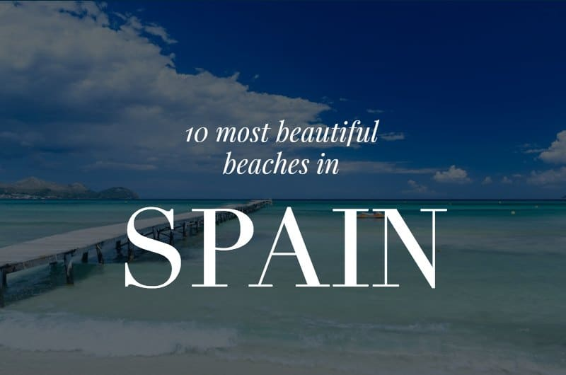 Playa Muro with text overlay '10 Most Beautiful Beaches in Spain'