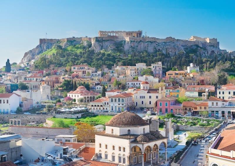 View of Monastiraki Square and the Acropolis, Athens, Greece