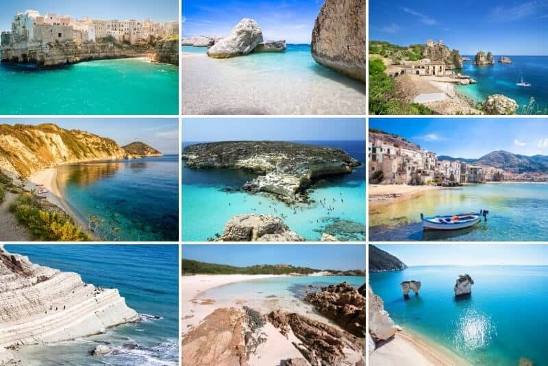 collage of the best beaches in Italy