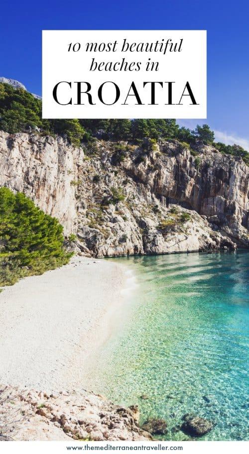 Nugal beach with text overlay '10 most beautiful beaches in Croatia'