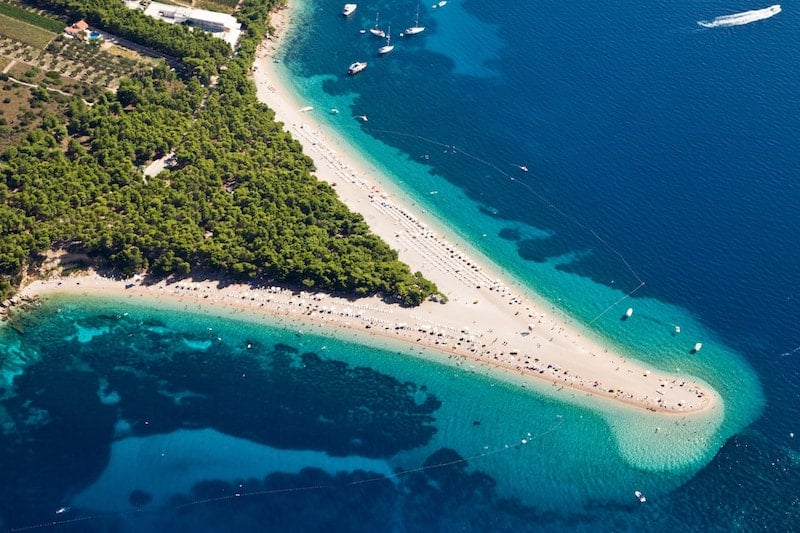 Aerial view of Zlatni Rat beach on Brac island