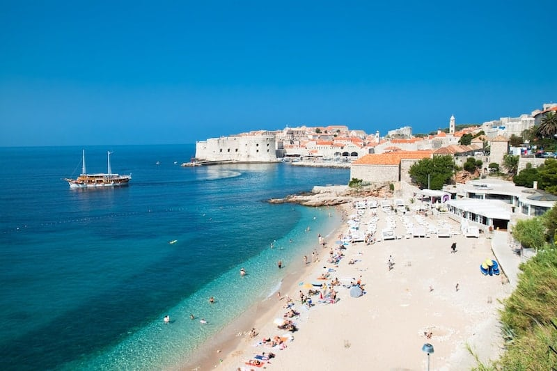Banje Beach with Dubrovnik Old Town in the background