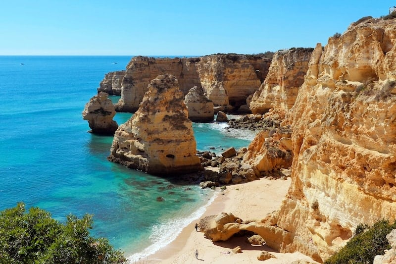 The coves of Praia de Marinha, Portugal