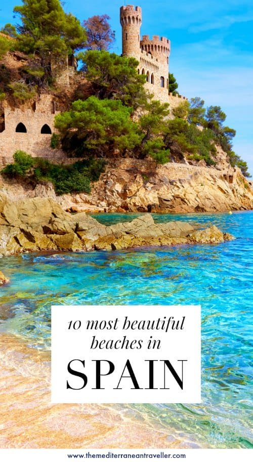 Tossa de Mar with text overlay '10 Most Beautiful Beaches in Spain'