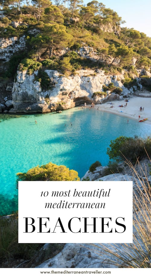 Menorca beach with text overlay '10 most beautiful beaches in the Mediterranean'