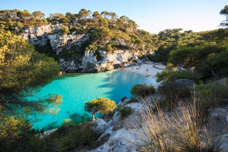 beautiful beach with turquoise seas on Menorca
