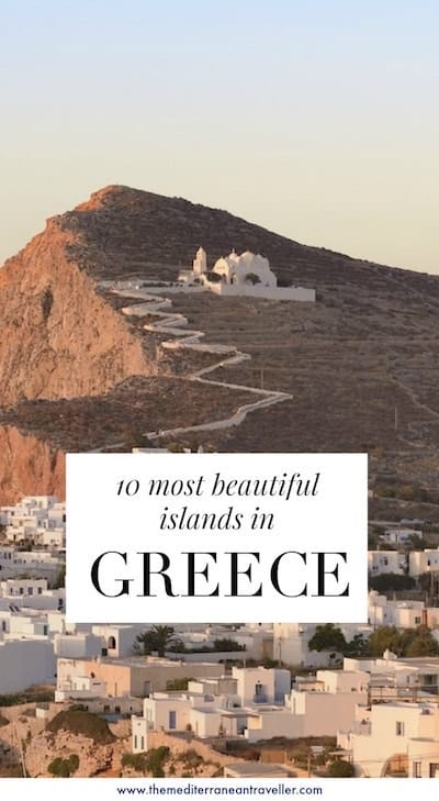 Folegandros with text overlay '10 Most Beautiful Greek Islands'